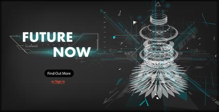 3D-futuristische abstrakte Vorlage mit innovativer virtueller Benutzeroberfläche auf dunkler Hintergrundvektorillustration, Hologrammbildschirm, Science-Fiction, Sicherheitssystem. Mock-up-Website-Vektor-Illustration