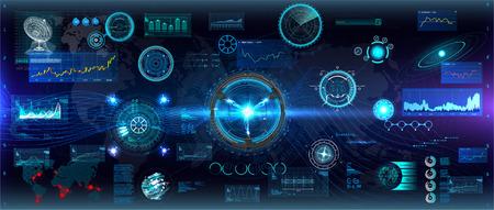 Head up Design elements set. HUD circular technology concept. Futuristic dashboard elements. Futuristic User Interface, big set. ( graph, waves, arrow, bar regulator, circle, percent) HUD Vector set