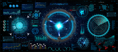 Innovation system, HUD UI elements collection. Futuristic User Interface ( data, charts, gadgets, app elements, dashboard, earth map, hologram, radars) HUD elements set. Vector collection Illustration