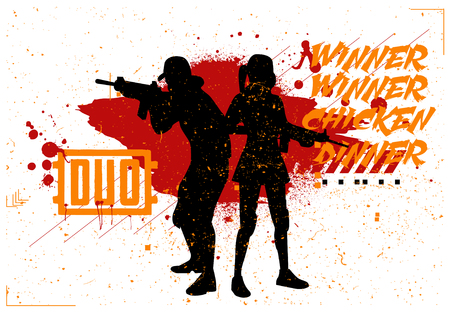 Duo woman and man in PUBG, military team, concept of games PlayerUnknowns Battlegrounds, silhouettes of military in style grunge and slogan: winner winner chicken dinner. Vector PUBG, grunge style
