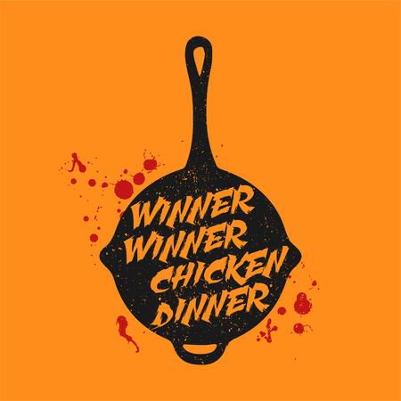 Typography on a Pan vector illustration, PUBG vector illustration, Game symbol, Battle royale concept. Slogan - Winner Winner Chicken Dinner Illustration