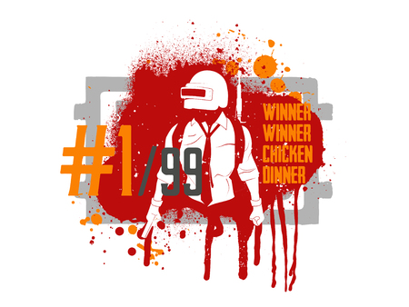 Playerunknowns Battlegrounds (PUBG) Poster and phrase from the game - winner winner chicken dinner. Vector illustration in grunge style. PUBG game concept