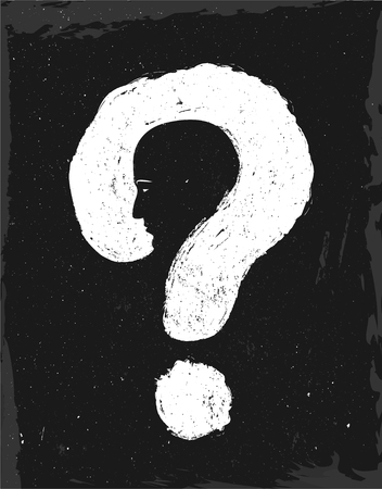 Double exposure. man is the question. The face of the man in the question mark. Solution concept. Vector illustration grunge style