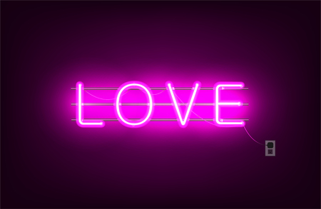 Neon sign, the word Love on dark background. Design element for Happy Valentine's Day. Ready for your design, greeting poster, card, banner