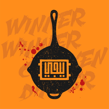 Pubg silhouette pan. PlayerUnknowns Battlegrounds concept. Arabic calligraphy translation letters  PUBG  on a frying pan vector illustration.