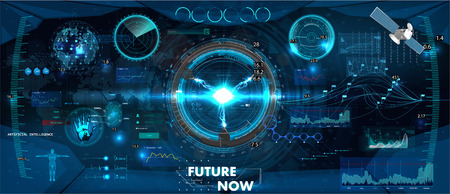 Spaceship control panel dashboard in HUD style. Futuristic VR Head-up display design. View from the cockpit spacecraft, Sci-Fi, VR, Helmet HUD. Gui elements, technology display design.