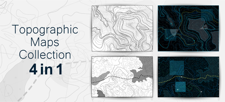 Topographic Map, Contour Background Collection. Map Grid Abstract Vector Illustration. The Concept of a Conditional Geography Scheme and the Terrain Path. Topo Map With Elevation. Vector Set