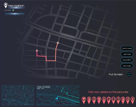 Dashboard theme creative infographic of city map navigation. Technology concept. Vector illustration gps navigation. Ilustração