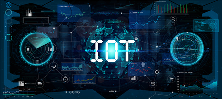 Global world telecommunication network connected around planet Earth, internet of things (IOT), devices and connectivity concepts on a network. Futuristic interface, vector
