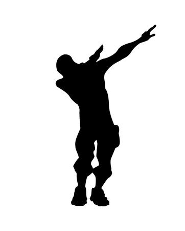 Fortnite concept. Silhouette of a man in a dab pose. Dub icon, vector illustration Fortnite Illustration