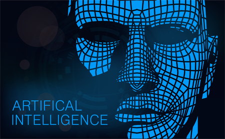 Concept of artificial intelligence or AI. Futuristic abstract background. Human head combined with binary code. Vector illustration Illustration