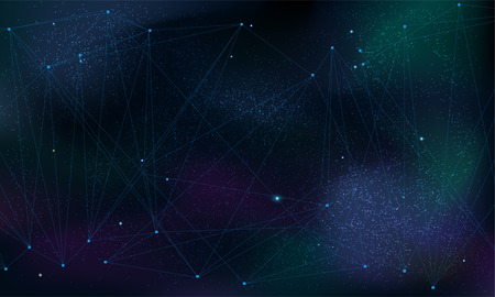 Abstract polygonal grid on cosmic background. Futuristic illustration. Space sky background