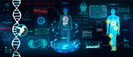 Healthcare futuristic scanning in HUD style design, Human body, organs and brain scan with pictures. Hi-tech elements. Virtual graphic touch HUD UI with illustration of DNA formula and data chart Illustration