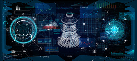 HUD interface. Virtual reality technology. Futuristic User Interface ( data, charts, gadgets, app elements, dashboard, earth map, hologram, radars) HUD collection elements