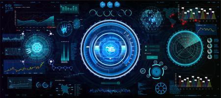 HUD Interface set for GUI, UI, UX design. Head-Up style, Technology elements set (space, dashboard, hologram, spaceship, medicine, finance, analytics) Mechanical scheme HUD electric field. Vector