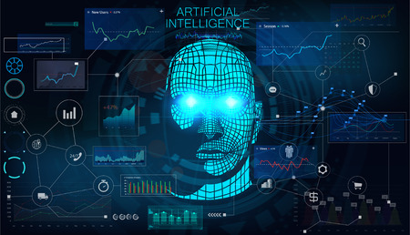 Human Big data visualization. Futuristic Artificial intelligence concept. Cyber mind aesthetic design. Machine learning. Complex data threads in form of head side view and binary data