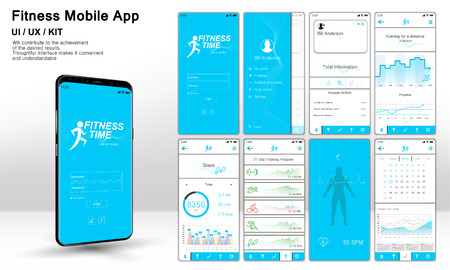 Fitness App Screens, Template ready application UI  UX  KIT . Mock up Mobile app. Entry menu, data analysis, choice of training program. Fitness interface design for mobile application