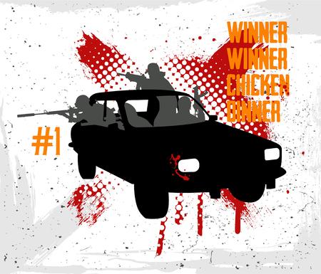 Squad rides by car and shoots. Vector illustration grunge style Illusztráció
