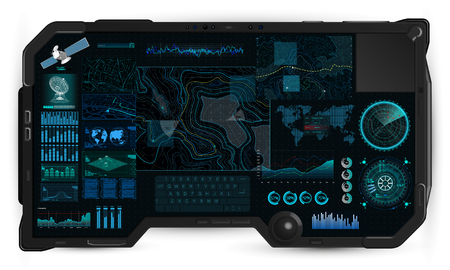 Command Center Screen in tablet HUD. Topographic Map, Contour. Futuristic Interface Elements and Earth Landscape Scanning. Concept of a Conditional Geography Scheme in HUD Style. Vector elements set