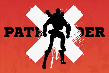 Robot pathfinder(Silhouette). Vector illustration in grunge style. Illusztráció