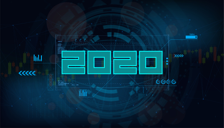 Modern futuristic template for 2020. Decorative element for design Happy New Year 2020. Digital data visualization, Business technology concept. Futuristic vector illustration background