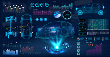 Car service in the style of HUD. Virtual graphical interface Ui HUD Autoscanning, analysis and diagnostics, Abstract vector science. Car auto service infographics. repair Futuristic user interface Illustration