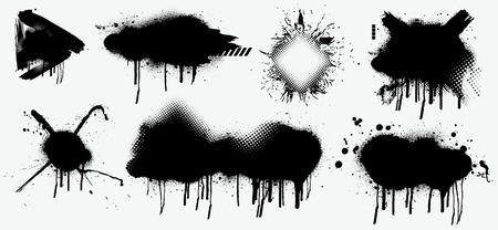 Abstract black spray on white background, Black splashes isolated on white background. Spray effect, exploding, black drops. Graffiti stencil template. Grunge effect, Isolated vector collection.