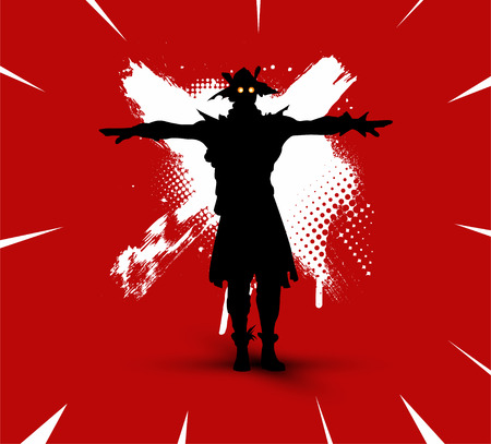 Fortnite illustration. Battle royale concept. Scarecrow(skin) silhouette on bright background with brush strokes and dirty marks (grunge style) vector illustration. Fortnite character