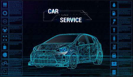 Car auto service infographics design. 3D polygonal car. Vector illustration, futuristic style. Auto poster concept