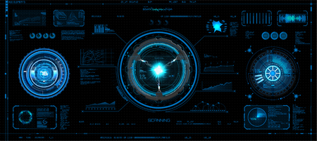 Futuristic concept HUD, GUI style. Screen (Dashboard, Futuristic Circle, Space Elements, Infographics) Vector Elements Set for HUD Sci Fi Interfaces. Hi tech future design. Sky fi for VR and App. Illustration