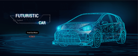 Abstract image of a sport car in the form of a starry sky or space, consisting of points, lines, and shapes in the form of planets, stars and the universe. Cars vector wireframe concept.