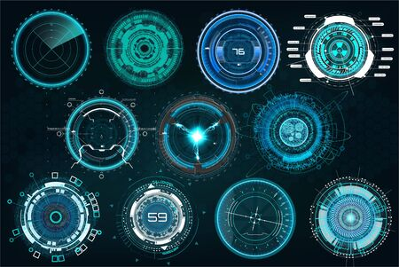 Set circle elements in a futuristic (HUD) style.Interface Device: Radars, crosshair, aim, turbojets, hours, mechanisms. Vector set elements HUD, UI, FI, SCI, GUI