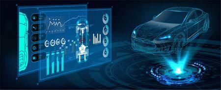 HUD-gebruikersinterface. Abstracte virtuele grafische gebruikersinterface met aanraking. Autoservice in de stijl van HUD. Hologram van de auto. auto projectie Vector Illustratie