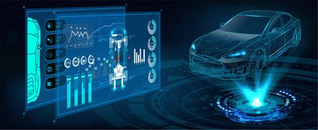 HUD UI. Abstract virtual graphic touch user interface. Car service in the style of HUD. Hologram of the car. Car projection