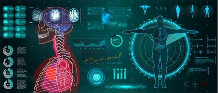 A modern medical interface for monitoring human scanning and analysis, healthcare HUD style. Futuristic user interface. Abstract virtual graphical user interface for medicine. HUD for motion design 写真素材 - 132069408