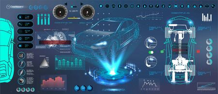 Car auto service. HUD UI style. Modern UI diagnostics of cars( infographic, auto scanning, analysis and diagnostics). Futuristic scanning, repair, dashboard, infographics. HUD UI 写真素材 - 132070056