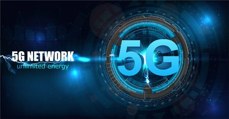 5G new wireless internet wifi connection. Fifth innovative generation of the global high speed Internet broadband network. Big data binary code flow numbers vector concept. Glowing abstract background 写真素材 - 131980770