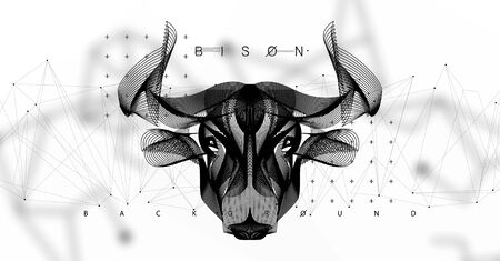 Abstract image of a cow in the form space, consisting of points, lines, and shapes. Animal vector wireframe concept. Head bison. Vector futuristic illustration. Modern art polygonal. Cow illustration