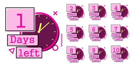 Days left badges. Going countdown sign, one day left badge and business date count label. Offer timer, limited only days sticker. Isolated vector illustration symbols set 写真素材 - 131980755