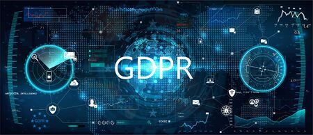 GDPR - General Data Protection Regulation. Idea of data protection. Futuristic interface and world map witch graphic and charts. Protection of personal data. Vector illustration. GDPR concept 写真素材 - 132069823