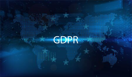 GDPR - General Data Protection Regulation. Idea of data protection. Dotted world map and futuristic symbol Europe. Protection of personal data. Vector illustration. GDPR concept illustration.