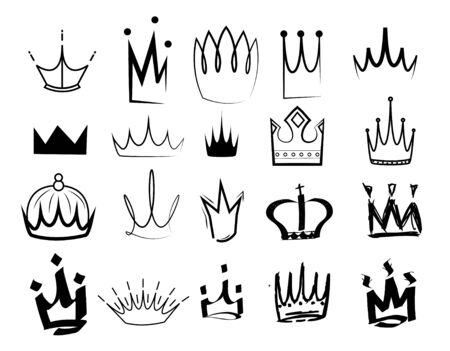 Sketch crown. Simple graffiti crowning, elegant queen or king crowns hand drawn. Royal imperial coronation symbols, monarch majestic jewel tiara isolated icons vector collection Illustration