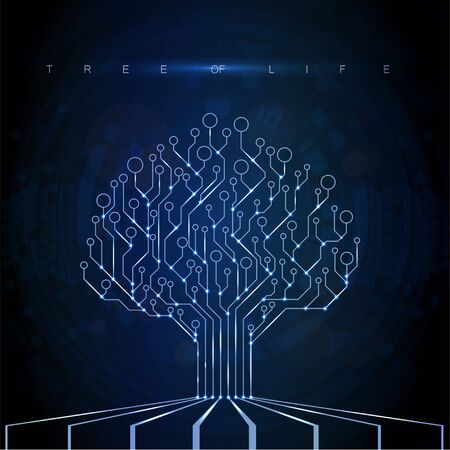 Circuit Board Tree. Technology CPU, Microprocessor Interface. Futuristic dark illustration with glitter and shine. The combination of life and technology. Cyborg concept. PCB electronic tree. Vector  イラスト・ベクター素材