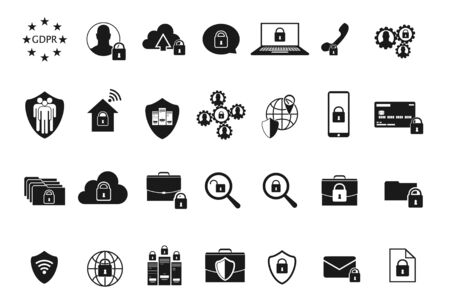 GDPR Data Privacy icons - General Data Protection Regulation. Included the icons as security information, GDPR data protection, shield, cookies policy, compliant, personal data, padlock and more