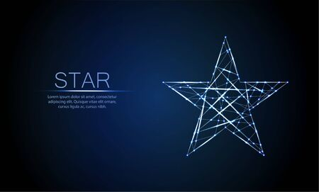 Low polygonal glowing five angles star, lines, triangular shapes. Polygonal style. Success, win symbol concept. Futuristic wireframe design vector illustration. 写真素材 - 132070434