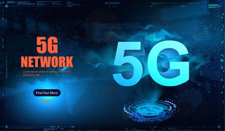 5G new wireless internet wifi connection. Fifth innovative generation of the global high speed Internet broadband network. Big data binary code flow numbers vector concept. 5G background