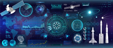 Spacecraft control panel dashboard in HUD style. Head-up display elements. Template UI for app and virtual reality. Abstract virtual graphic touch. HUD inteerface elements set. Vector illustration Çizim