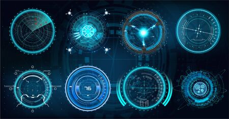 Futuristic optical aim in HUD style. Military collimator sight, gun targets focus range indication. Sniper weapon target hud aiming modern accuracy crosshairs. Future weapon radar technology set
