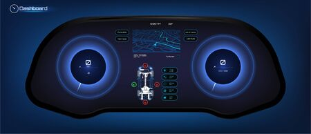 Car HUD dashboard. Futuristic user interface HUD and Infographic elements. Abstract virtual graphic touch user interface