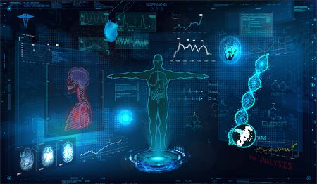 Medical examination HUD elements set. Display virtual interface (dna formula, ecg monitor, body scan, medical infographic, icons set, statistic and diagrams) Modern research of human health, vector Çizim